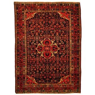Herat Oriental Persian Hand-knotted 1940s semi-antique Tribal Hamadan Wool Rug (4'10 x 6'7)