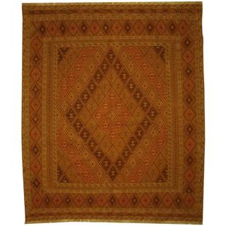 Herat Oriental Afghan Hand-woven Soumak Ivory/ Salmon Wool Rug (5'1 x 6')