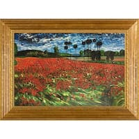 Vincent Van Gogh 'Field of Poppies' Hand Painted Framed Canvas Art