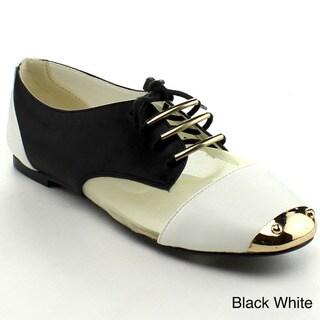 Bumper Women's 'Jolie-06' Colorblocked Mixed Media Oxford Shoes