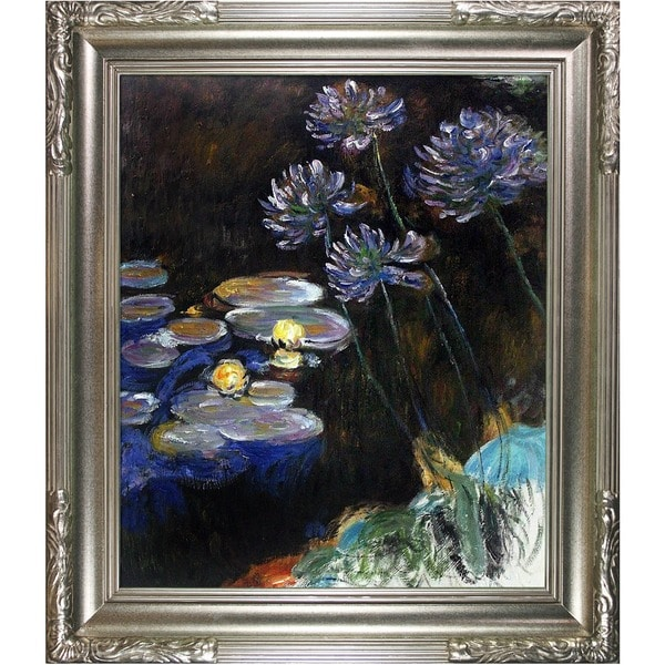 Claude Monet 'Water Lilies and Agapanthus' Hand Painted Framed Canvas Art