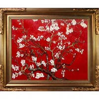 La Pastiche Original 'Branches of an Almond Tree in Blossom, Ruby Red' Hand-painted Framed Canvas Art