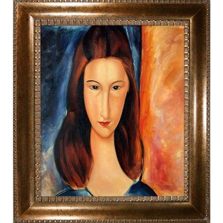 Amedeo Modigliani 'Portrait of Jeanne Hebuterne' Hand Painted Framed Canvas Art