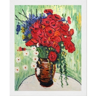 Vincent Van Gogh 'Vase with Daisies and Poppies' Hand Painted Framed Canvas Art
