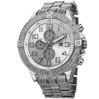 Joshua & Sons Men's Bold Multifunction Dazzling Silver-Tone Bracelet Watch with FREE GIFT