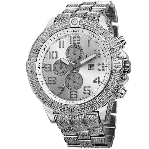 Joshua & Sons Men's Bold Multifunction Dazzling Silver-Tone Bracelet Watch