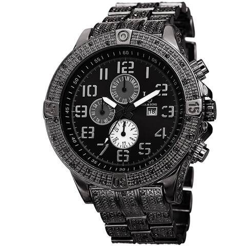 Joshua & Sons Men's Bold Multifunction Dazzling Black Bracelet Watch