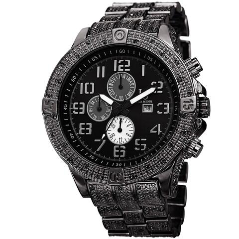 Joshua & Sons Men's Bold Multifunction Dazzling Black Bracelet Watch