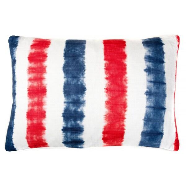16 x 24-inch Tie-dye Bands Indigo Decorative Throw Pillow