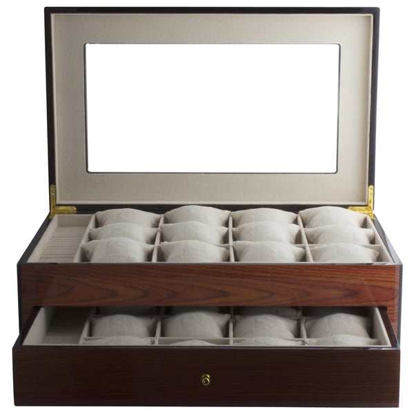 Luxe Collection Redwood Watch and Jewelry Showcase Box