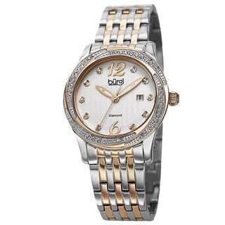 Burgi Women's Quartz Diamond Dial Stainless Steel Two-Tone Bracelet Watch