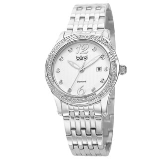 Burgi Women's Quartz Diamond Dial Stainless Steel Silver-Tone Bracelet Watch