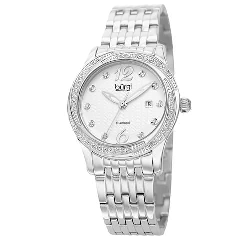 Burgi Women's Quartz Diamond Dial Stainless Steel Silver-Tone Bracelet Watch