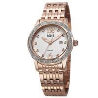 Burgi Women's Quartz Diamond Dial Stainless Steel Rose-Tone Bracelet Watch