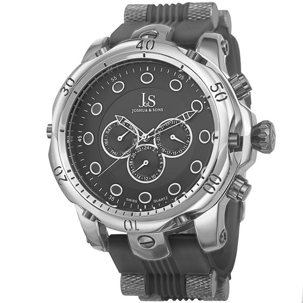 Joshua & Sons Men's Multifunction Swiss Quartz Rubber Black Strap Watch