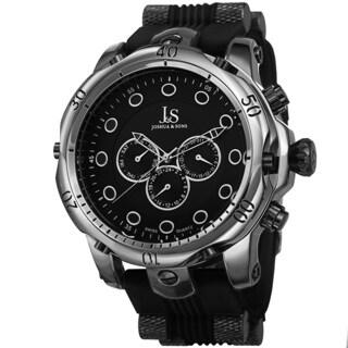 Joshua & Sons Men's Multifunction Swiss Quartz Rubber Black Strap Watch
