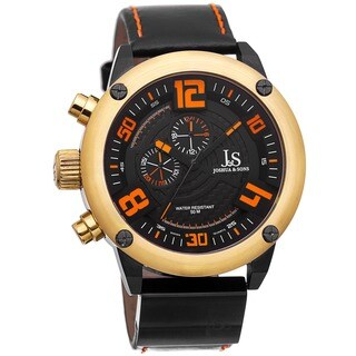 Joshua & Sons Men's Multifunction Double-Layered Dial Leather Gold-Tone Strap Watch
