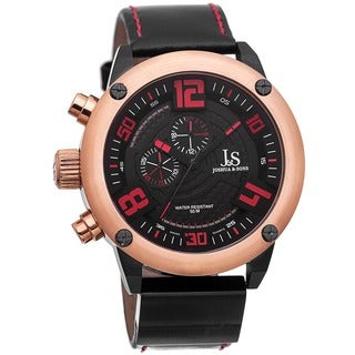 Joshua & Sons Men's Multifunction Double-Layered Dial Leather Rose-Tone Strap Watch