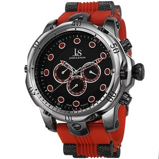Joshua & Sons Men's Multifunction Swiss Quartz Rubber Red Strap Watch