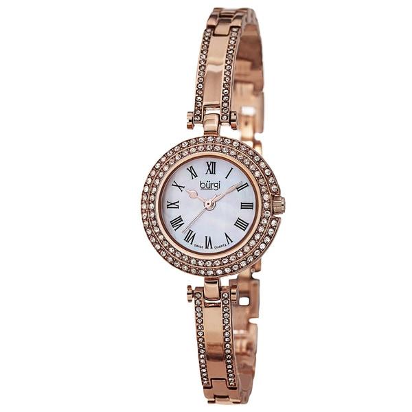 Burgi Women's Swiss Quartz Dial Rose-Tone Bracelet Watch
