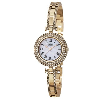 Burgi Women's Swiss Quartz Dial Gold-Tone Bracelet Watch with FREE GIFT