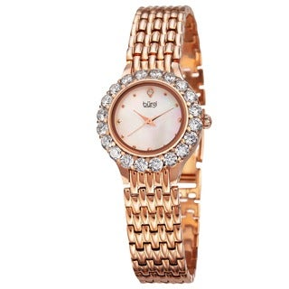 Burgi Women's Swiss Quartz Crystal-Accented Rose-Tone Bracelet Watch with FREE Bangle