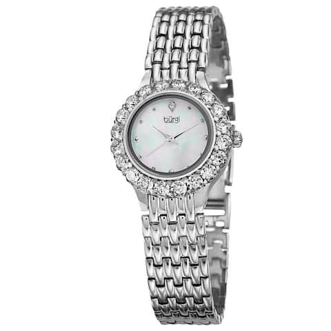 Burgi Women's Swiss Quartz Crystal-Accented Silver-Tone Bracelet Watch