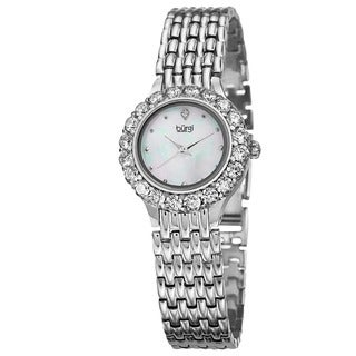 Burgi Women's Swiss Quartz Crystal-Accented Silver-Tone Bracelet Watch