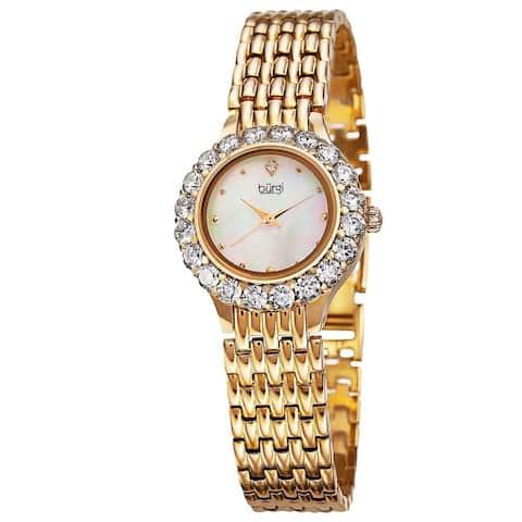 Burgi Women's Swiss Quartz Crystal-Accented Gold-Tone Bracelet Watch