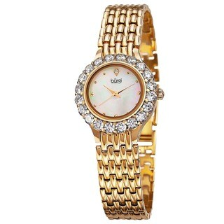 Burgi Women's Swiss Quartz Crystal-Accented Gold-Tone Bracelet Watch with FREE Bangle