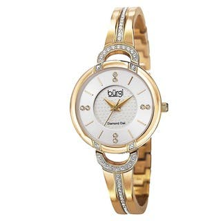 Burgi Women's Swiss Quartz Diamond Stainless Steel Bangle Gold-Tone Watch with FREE GIFT|https://ak1.ostkcdn.com/images/products/9082603/P16273445.jpg?impolicy=medium