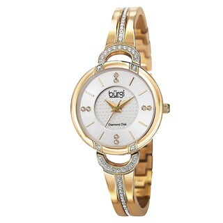 Burgi Women's Swiss Quartz Diamond Stainless Steel Bangle Gold-Tone Watch with FREE GIFT