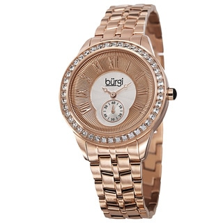 Burgi Women's Swiss Quartz Crystal Bezel Stainless Steel Rose-Tone Bracelet Watch