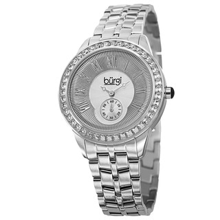 Burgi Women's Swiss Quartz Crystal Bezel Stainless Steel Silver-Tone Bracelet Watch
