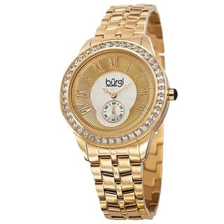 Burgi Women's Swiss Quartz Crystal Bezel Stainless Steel Gold-Tone Bracelet Watch