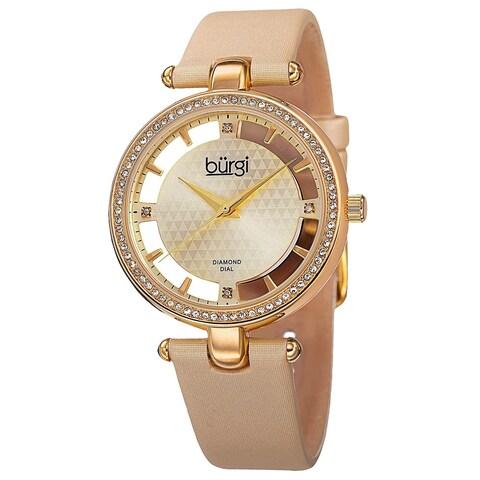 Burgi Women's Swiss Quartz Diamond Dial Satin Gold-Tone Strap Watch