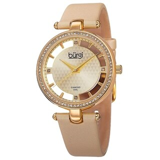 Burgi Women's Swiss Quartz Diamond Dial Satin Gold-Tone Strap Watch with FREE Bangle