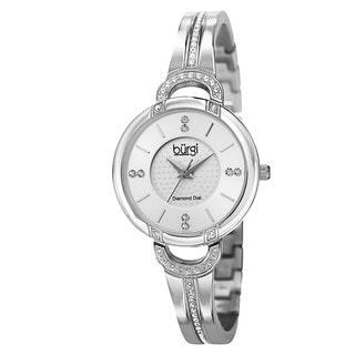 Burgi Women's Swiss Quartz Diamond Stainless Steel Bangle Silver-Tone Watch with FREE GIFT