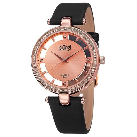 Burgi Women's Swiss Quartz Diamond Dial Satin Rose-Tone Strap Watch