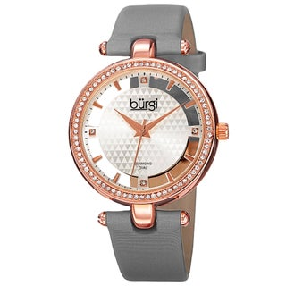 Burgi Women's Diamond Accent Dial Satin Finish Strap Watch (3 options available)