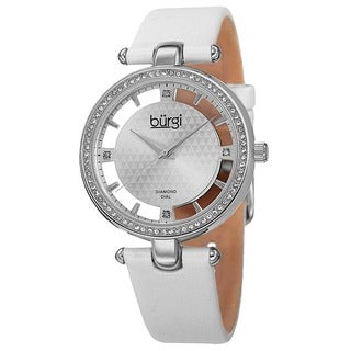 Burgi Women's Swiss Quartz Diamond Dial Satin White Strap Watch