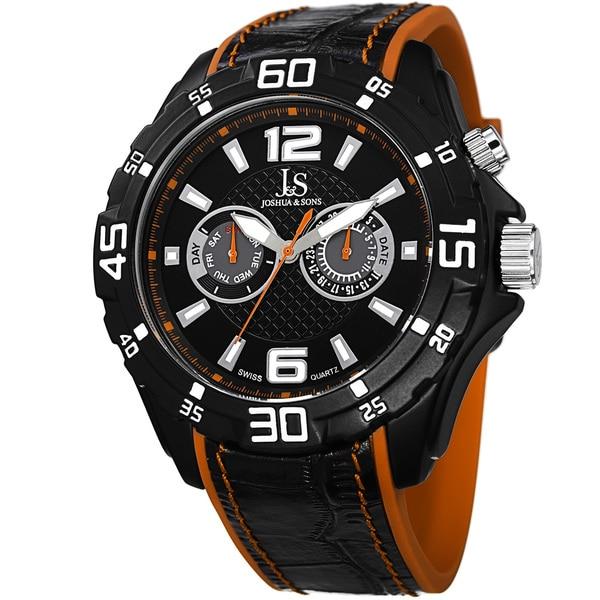 Joshua & Sons Men's Multifunction Swiss Quartz Layered Orange Strap Watch