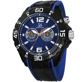 Joshua & Sons Men's Multifunction Swiss Quartz Layered Blue Strap Watch