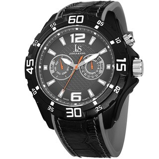 Joshua & Sons Men's Multifunction Swiss Quartz Layered Grey Strap Watch with FREE GIFT