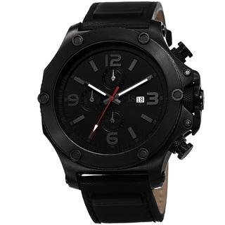 Joshua & Sons Men's Swiss Quartz Leather Black Strap Watch