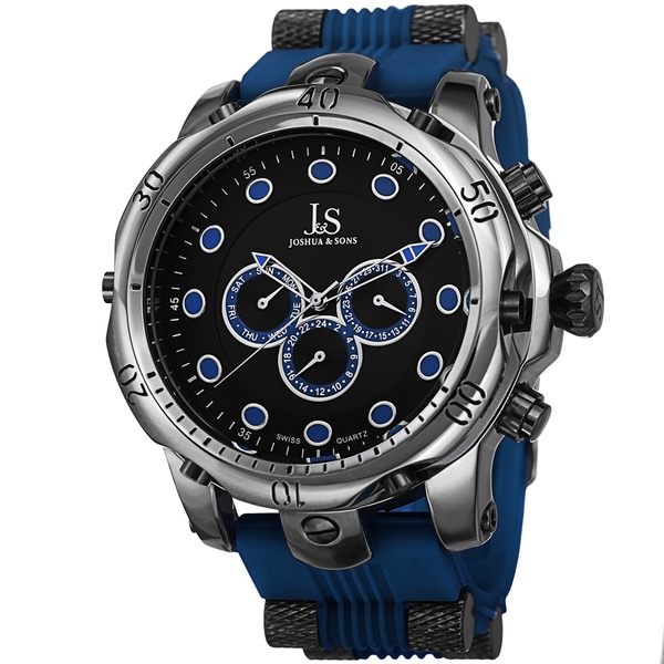 Joshua & Sons Men's Multifunction Swiss Quartz Rubber Blue Strap Watch