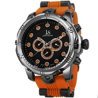 Joshua & Sons Men's Multifunction Swiss Quartz Rubber Orange Strap Watch