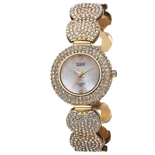 Burgi Women's Swiss Quartz Diamond Dial Crystal-Accented Gold-Tone Bracelet Watch with FREE GIFT