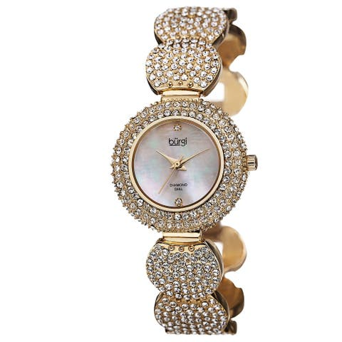 Burgi Women's Swiss Quartz Diamond Dial Crystal-Accented Gold-Tone Bracelet Watch