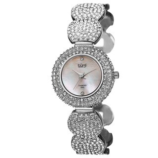 Burgi Women's Swiss Quartz Diamond Dial Crystal-Accented Silver-Tone Bracelet Watch with FREE GIFT